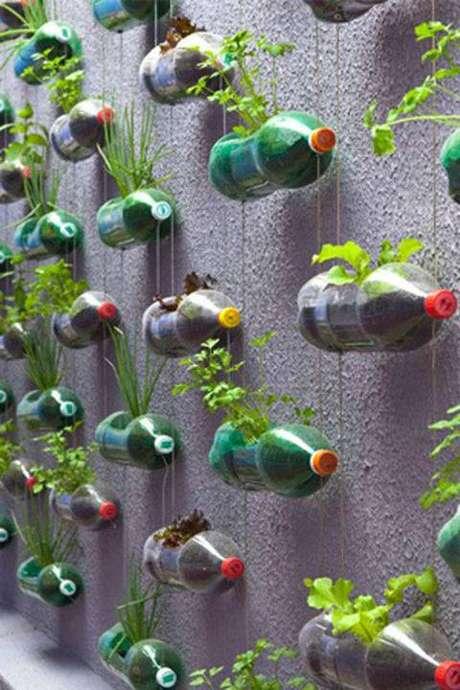 10. A horta vertical feita com garrafa PET é uma forma bem sustentável e barata de fazer a sua horta em casa