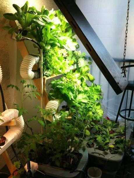 18. Uma forma criativa de fazer a sua horta vertical é usar tubulações para criar um sistema de irrigação