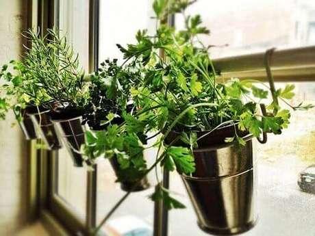 51. Horta vertical em vasos metálicos pendurados na janela. Foto de Pinterest