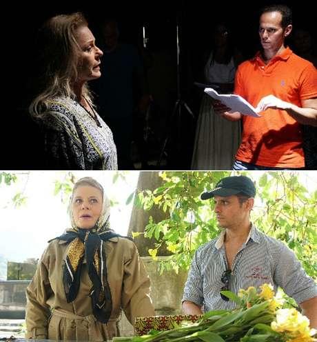 O diretor Daniel Ghivelder num ensaio e em uma filmagem externa com Vera Fischer