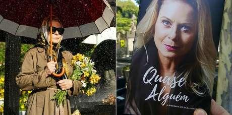 Vera Fischer em cena rodada no cemitério São João Batista, no Rio, e a capa do livro escrito por sua personagem Gilda