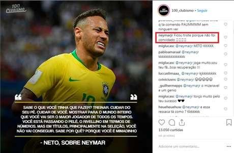 Neymar ironizou Neto após criticas do ex-jogador. (Reprodução/Instagram)