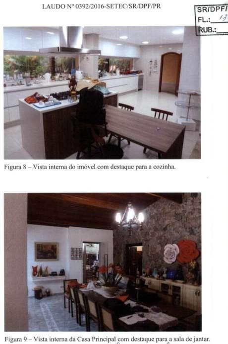 Laudo mostrasalas de jantar em casa do sítio de Atibaia