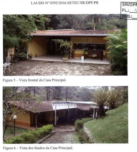 Imagens de laudo da PF mostram a área externa da casa em um sítio de Atibaiaatribuído ao ex-presidente Lula