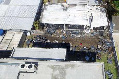 Vista aérea da área do CT do Flamengo atingida pelo incêndio
