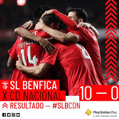 Benfica bateu o Nacional por 10 a 0