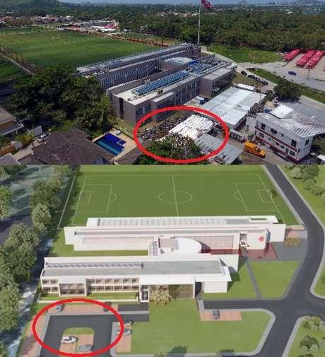 Imagens aéreas do Ninho do Urubu e do projeto apresentado pelo Flamengo mostram a diferença de como deveria ser e como era de fato o local do incêndio