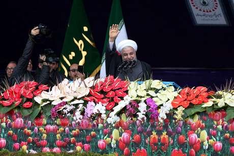 Presidente do Irã, Hassan Rouhani, durante comemoração do 40º aniversário da Revolução Islâmica 11/02/2019 Hossein Zohrevand/Tasnim News Agency/via REUTERS
