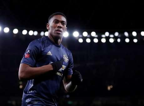 Anthony Martial comemora gol em jogo do Manchester United 25/01/2019 Action Images via Reuters/Matthew Childs