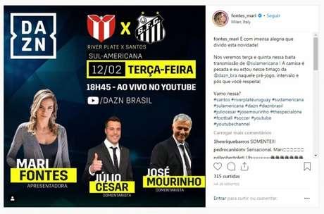 José Mourinho será um dos comentaristas do jogo entre River Plate e Santos (Foto: Instagram/Reprodução)