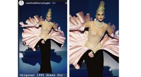 Vestido original de Thierry Mugler de 1995 (Fotos: Reprodução/Instagram/@manfredthierrymugler)