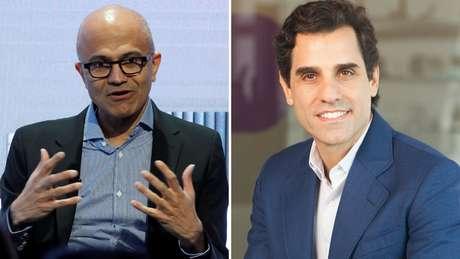 À dir., Satya Nadella, CEO da Microsoft, e à esq., o CEO da Telefonica, Christian Gebara: os dois apresentarão palestras no AI + Tour - Brasil