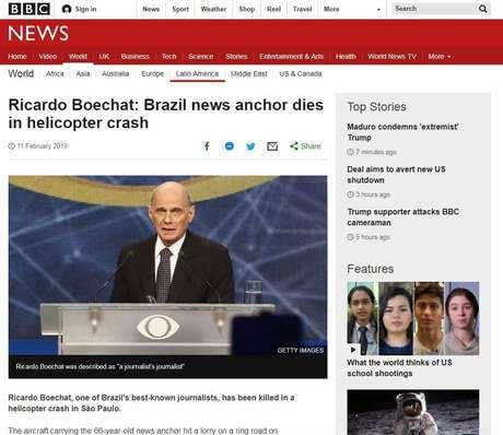 Reportagem da BBC sobre a morte de Boechat