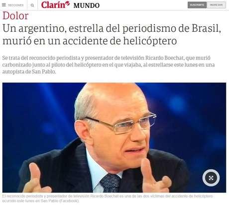 Reportagem do argentino 'Clarín' sobre a morte de Boechat