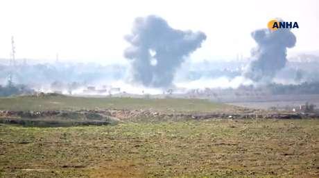 Combates no vilarejo de Baghouz 11/02/2019 ANHA/ReutersTV via REUTERS