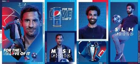 Pepsi lança nesta terça-feira sua campanha mundial para a Liga dos Campeões com Messi e Salah (Foto: Divulgação)