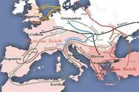 A grande migração de germanos e de eslavos