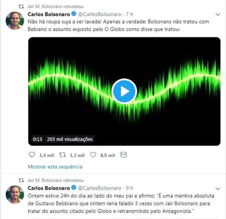 Perfil de Jair Bolsonaro compartilhou publicações do filho, Carlos Bolsonaro, acusando ministro Gustavo Bebianno de ter mentido a respeito de ter conversado com presidente