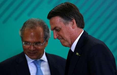 O presidente da República, Jair Bolsonaro, e o ministro da Economia, Paulo Guedes