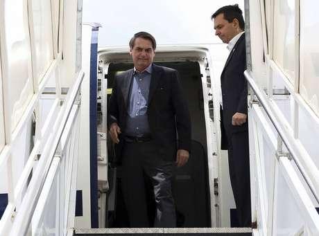O presidente da República,Jair Bolsonaro, aterrisana base áera de Brasília, após passar 17 dias internado em São Paulo para uma cirurgia de reconstrução do trânsito intestinal