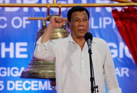 Presidente das Filipinas, Rodrigo Duterte, durante cerimônia em Balangiga 15/12/2019 REUTERS/Erik De Castro
