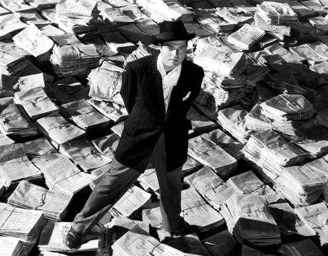Orson Welles, em cena do filme Cidadão Kane.
