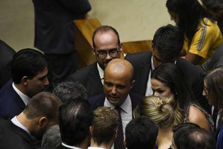 O major Vítor Hugo (PSL-GO) durante a sessão Deliberativa Ordinária realizada no plenário da Câmara dos Deputados, em Brasília (DF), nesta terça-feira (12).