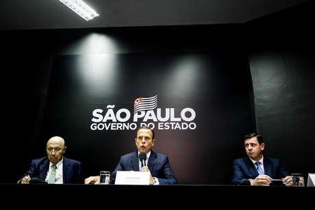 O governador do Estado de São Paulo, João Doria, concede coletiva à imprensa