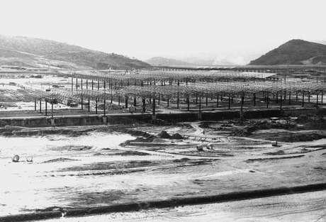 Vista geral da construção da fábrica da Fiat em Betim, em 1975