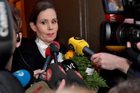 Ex-secretária da Academia Sueca Sara Danius 12/04/2018 TT News Agency/Jonas Ekstromer/via REUTERS