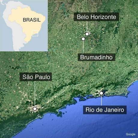 Mapa localizando Brumadinho