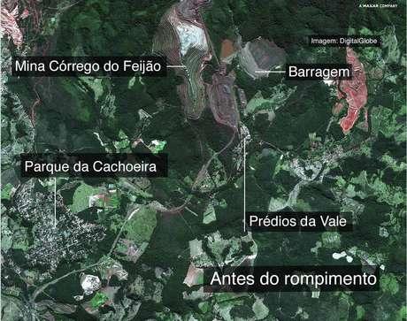 Vista aérea da região antes do rompimento