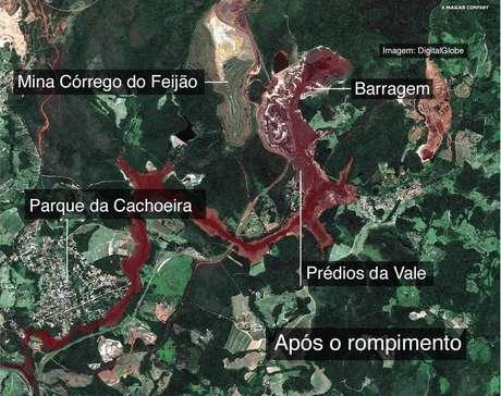 Vista aérea da região depois do rompimento