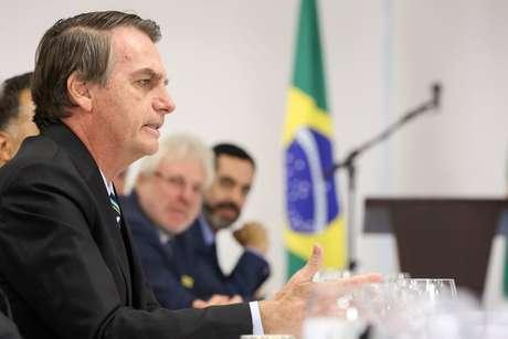 O presidente Jair Bolsonaro durante caféda manhãcom jornalistas