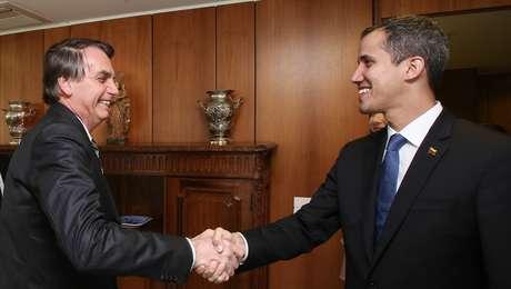 Presidente da República, Jair Bolsonaro durante encontro com Juan Guaidó, Presidente Encarregado da Venezuela.