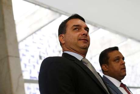 Senador Flávio Bolsonaro após reunião em Brasília 20/02/2019 REUTERS/Adriano Machado