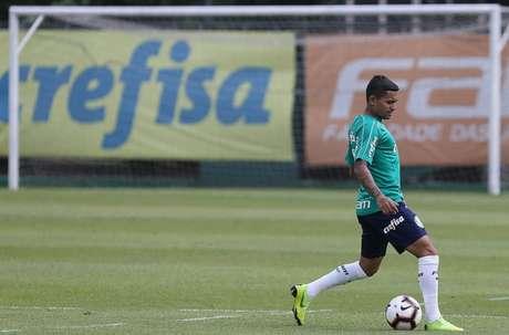 Dudu esteve em campo no treino desta manhã, na Academia de Futebol (Foto: Cesar Greco)