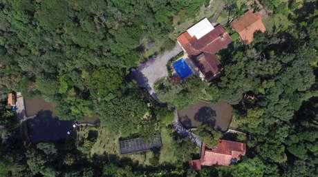 Imagem aérea do sitio em Atibaia que seria do ex-presidente Lula, e está sob investigação na Operação Lava-Jato.