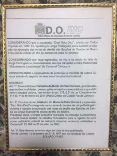 """Em 2015, o então prefeito do Rio Eduardo Paes incluiu a expressão 'Dez, nota dez"""" no chamado """"Cadastro do Modo de Falar Carioca""""."""