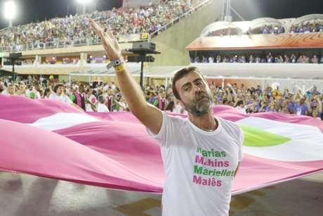 O deputado federal Marcelo Freixo (Psol-RJ), amigo e padrinho político de Marielle, participou do desfile
