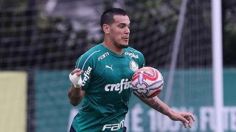 Gustavo Gómez durante treino do Verdão, na Academia de Futebol (Foto: Agência Palmeiras/Divulgação)