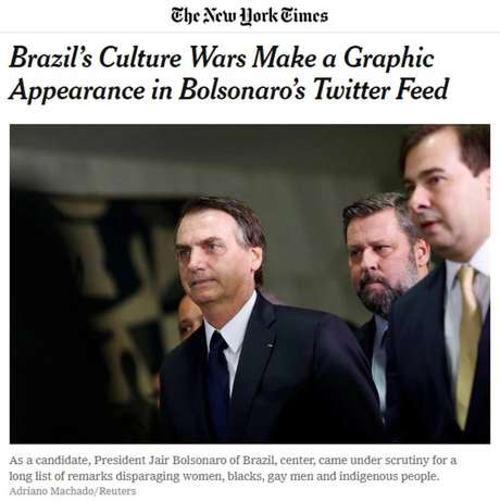 Em seu site oficial, 'The New York Times' repercute vídeo publicado por Bolsonaro no Twitter com atos obscenos