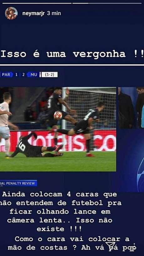 Postagem de Neymar xingando a arbitragem após eliminação do PSG