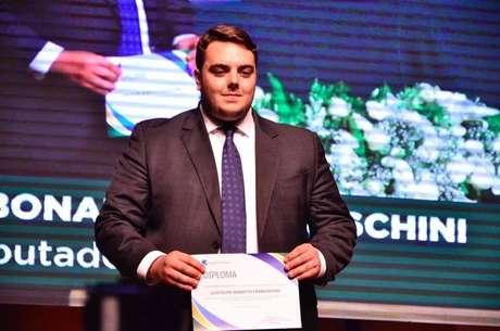 O deputado federal Felipe Francischini (PSL-PR), durante evento em que foi diplomadono cargo