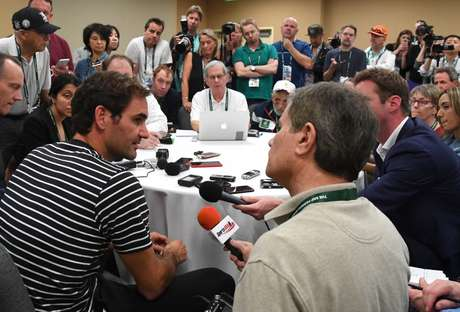 Roger Federer concede entrevista coletiva em Indian Wells 06/03/2019 Jayne Kamin-Oncea-USA TODAY Sports