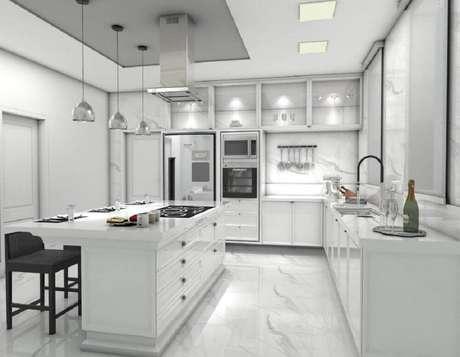 56- O branco é uma cor neutra que garante uma cozinha bonita e bem elegante