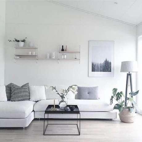 61- A sala com cores de tintas neutras com o branco fica visualmente mais ampla