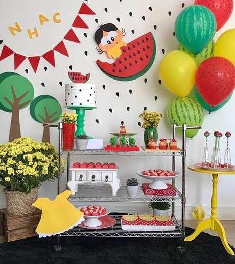 50. Temas de mesversário bem coloridos como a turma da Mônica ficam lindos para montar a decoração – Foto: Pop Lembrancinhas