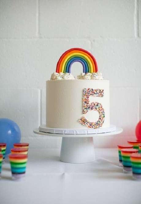 58. Arco-íris é garantia de temas para mesversário bem divertido e colorido – Foto: Bloglovin