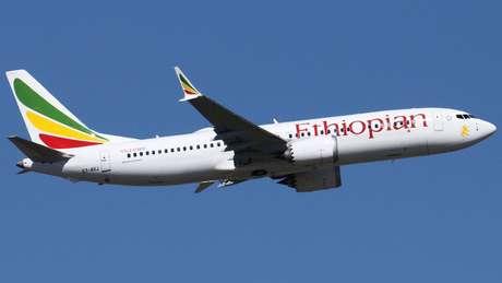 O avião 737 Max-8, da Ethiopian Airlines, que caiu no domingo